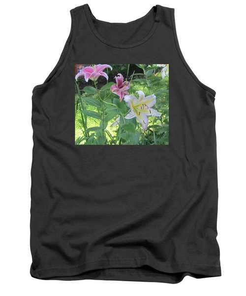 Pink And White Stargazer Lilies Tank Top