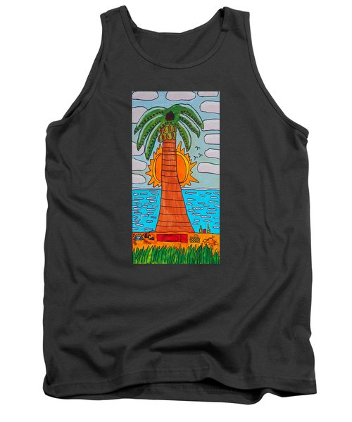 Tank Top featuring the painting Pink Clouds Fiesta by Artists With Autism Inc