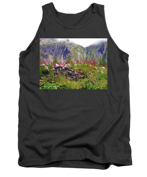 Pink Flowers And Mountains Tank Top