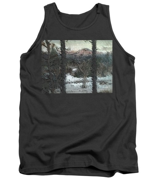 Tank Top featuring the painting Snow - Pink Mountain - Blueridge Mountains by Jan Dappen