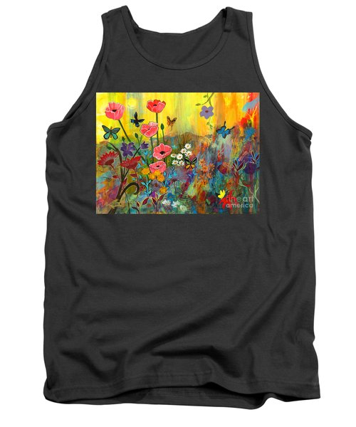 Tank Top featuring the painting Pink Poppies In Paradise by Robin Maria Pedrero