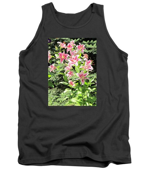 Pink Stargazer Lilies-greeting Card Tank Top