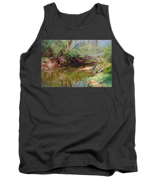 Tank Top featuring the painting Pleasure Of  The Enchanted Wolf by Svitozar Nenyuk