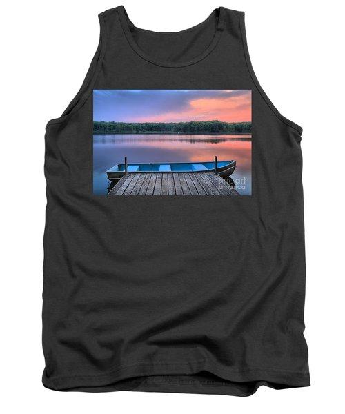 Poconos Lake Whitney Sunset Rowboat Tank Top