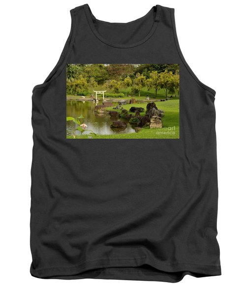 Pond Rocks Grass And Japanese Arch Singapore Tank Top