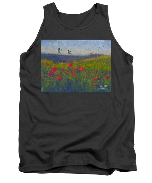 Tank Top featuring the digital art Poppies Of Tuscany by Lianne Schneider