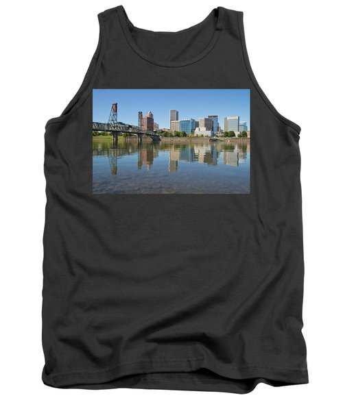 Tank Top featuring the photograph Portland Downtown Skyline And Hawthorne Bridge by JPLDesigns