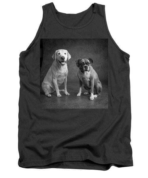 Portrait Of A Boxer Dog And Golden Tank Top