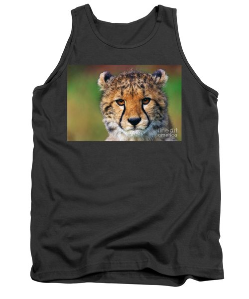 Tank Top featuring the photograph Portrait Of A Cheetah Cub by Nick  Biemans