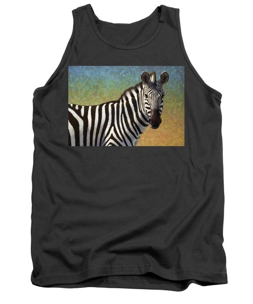 Tank Top featuring the painting Portrait Of A Zebra by James W Johnson