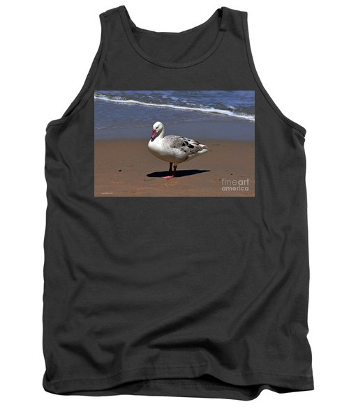 Tank Top featuring the photograph Pretty Goose Posing On Monterey Beach by Susan Wiedmann