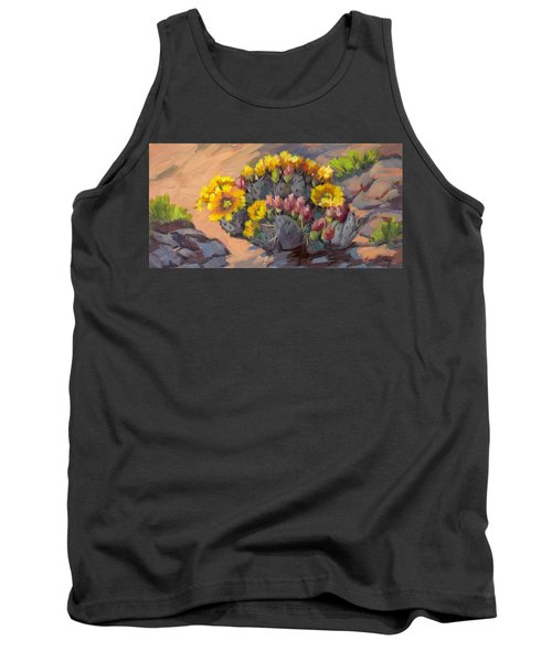 Prickly Pear Cactus In Bloom Tank Top by Diane McClary