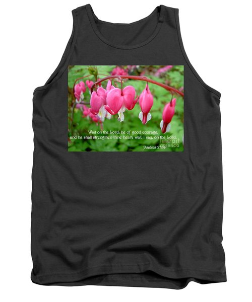 Psalms 27 14 Bleeding Hearts Tank Top by Sara  Raber