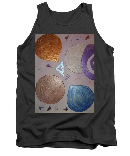 Tank Top featuring the painting Purple And Metallic Shapes by Barbara Yearty