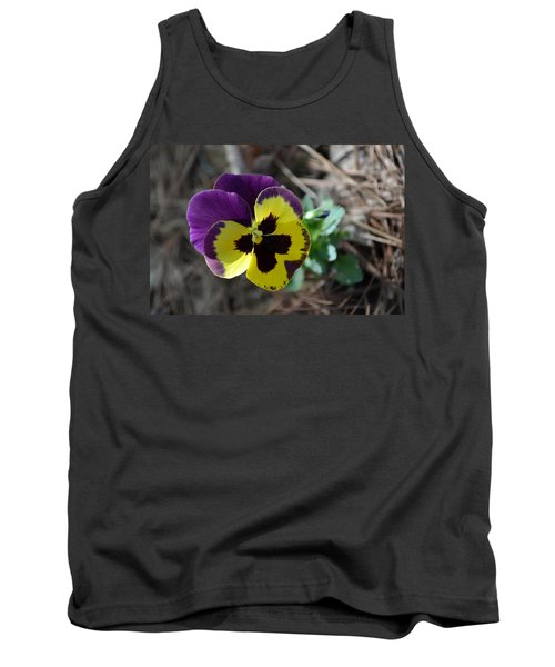 Tank Top featuring the photograph Purple And Yellow Pansy by Tara Potts