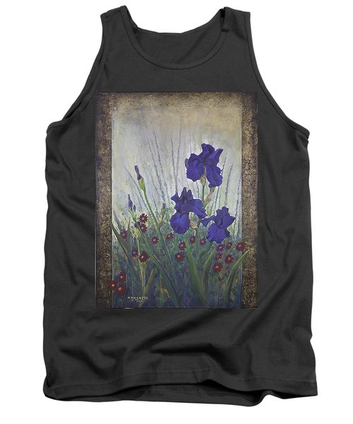 Tank Top featuring the painting Purple Iris by Rob Corsetti