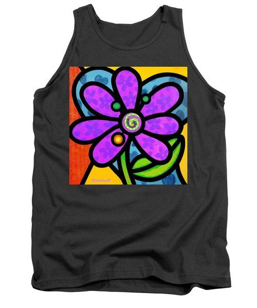 Purple Pinwheel Daisy Tank Top