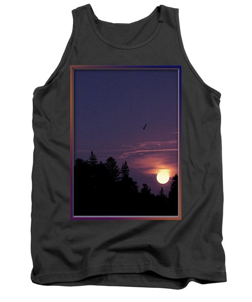 Tank Top featuring the photograph Purple Sunset With Sea Gull by Peter v Quenter