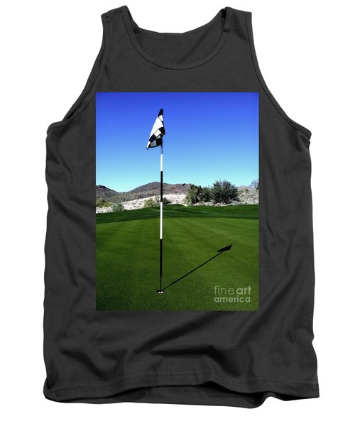 Putting Green And Flag On Golf Course Tank Top