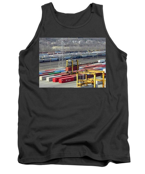 Tank Top featuring the photograph Queensgate Yard Cincinnati Ohio by Kathy Barney