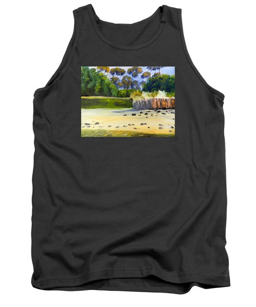 Tank Top featuring the painting Quiet Sand By The Creek by Pamela  Meredith