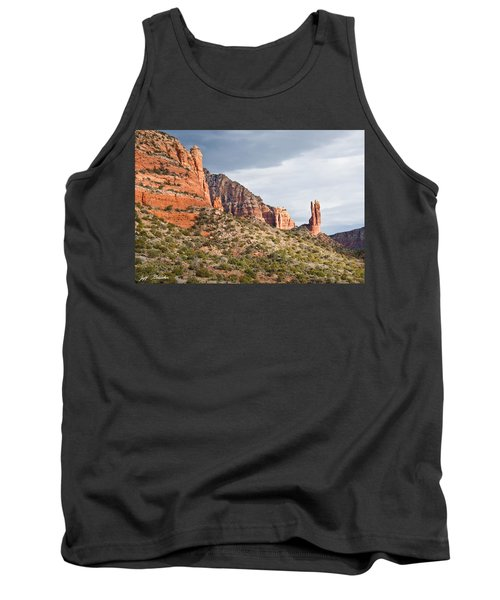Tank Top featuring the photograph Rabbit Ears Spire At Sunset by Jeff Goulden