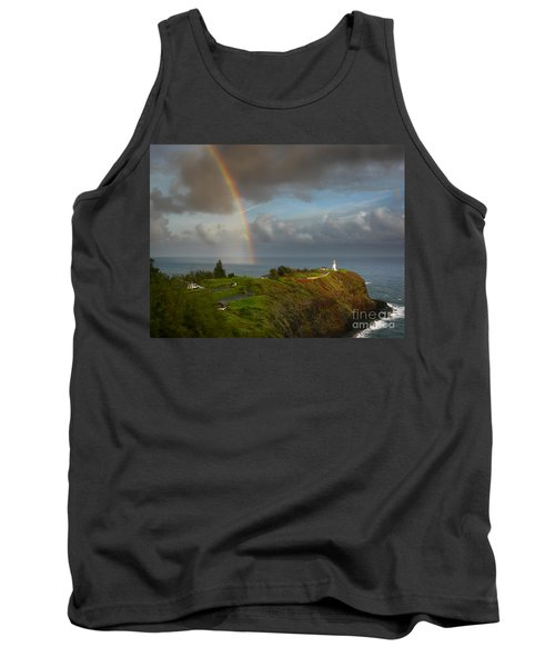 Rainbow Over Kilauea Lighthouse On Kauai Tank Top by IPics Photography