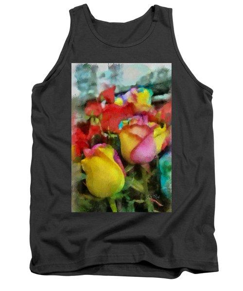 Rainbow Roses Watercolor Digital Painting Tank Top by Eti Reid