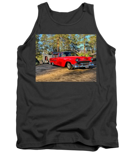 Tank Top featuring the painting Red '55 Chevy Wagon by Michael Pickett