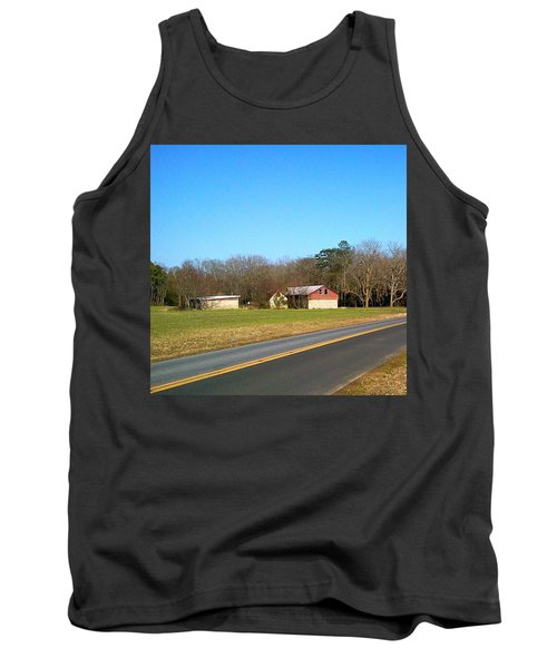 Red And White Barn With Trees Tank Top