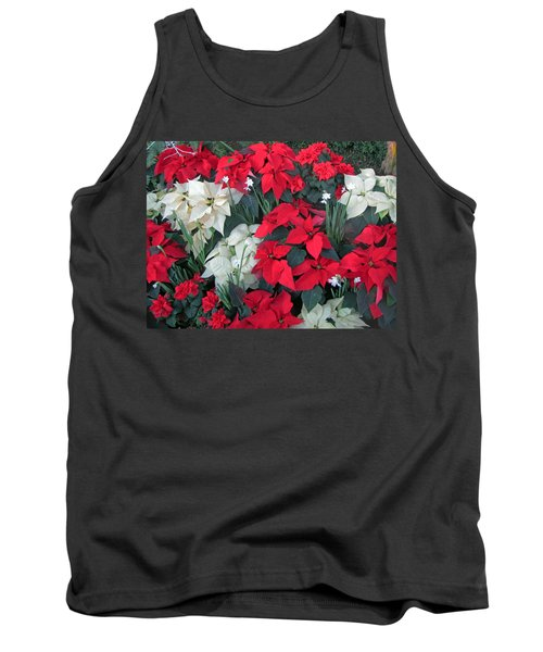 Red And White Poinsettias Tank Top