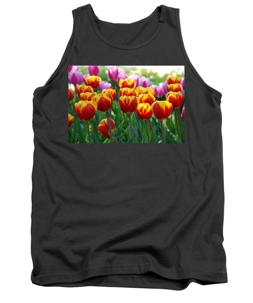 Tank Top featuring the photograph Red And Yellow Tulips  by Allen Beatty