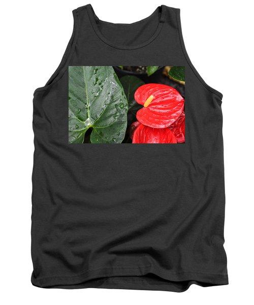 Red Anthurium Flower Tank Top