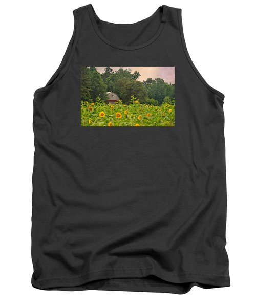 Red Barn Among The Sunflowers Tank Top by Sandi OReilly