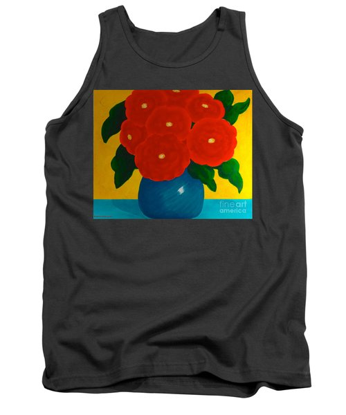 Tank Top featuring the painting Red Bouquet by Anita Lewis