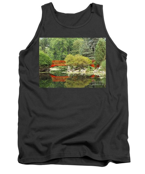 Red Bridge Reflection In A Pond Tank Top