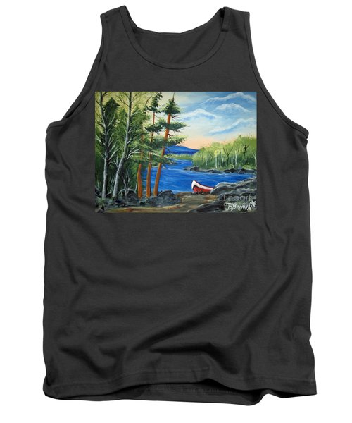 Tank Top featuring the painting Red Canoe by Brenda Brown