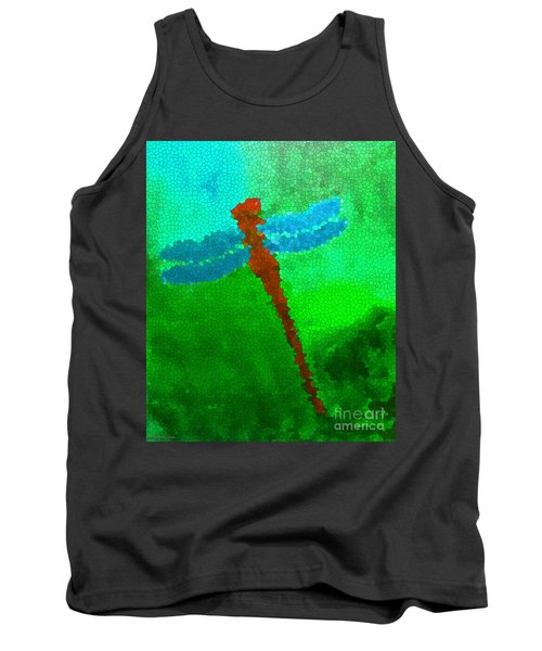 Tank Top featuring the digital art Red Dragonfly by Anita Lewis