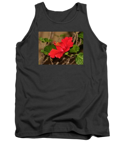 Red Hibiscus Flower Tank Top by Cynthia Guinn
