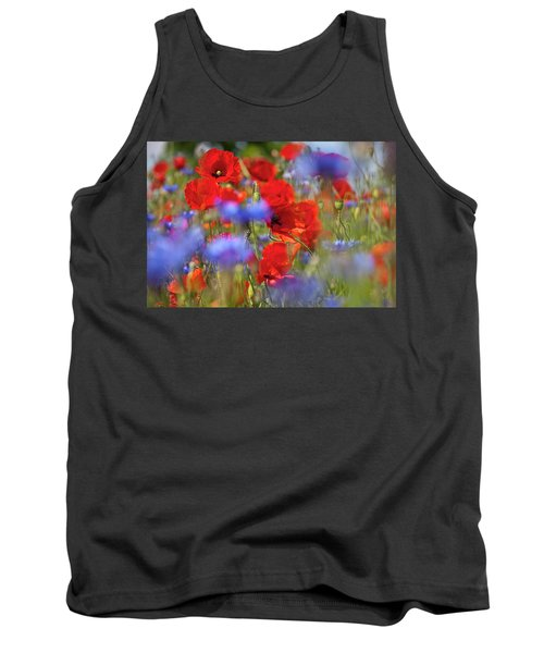 Red Poppies In The Maedow Tank Top by Heiko Koehrer-Wagner