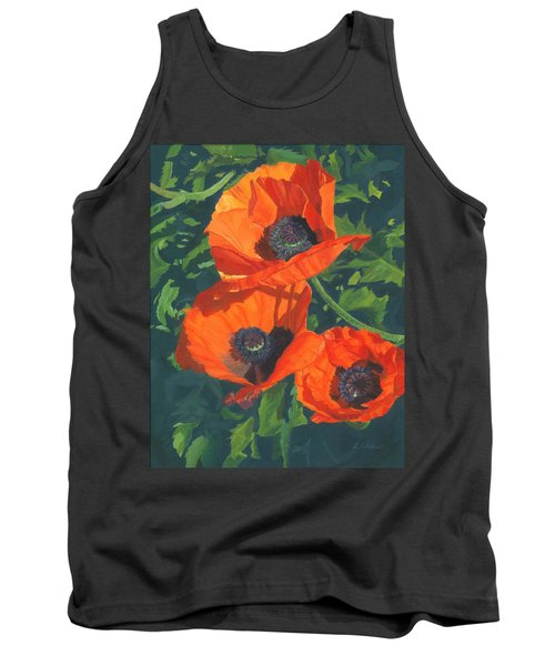 Tank Top featuring the painting Red Poppies Three by Lynne Reichhart