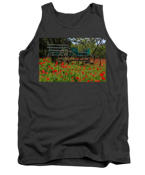 Red Poppies With Wagon Tank Top