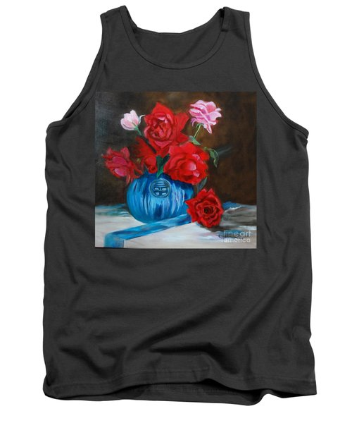 Tank Top featuring the painting Red Roses And Blue Vase by Jenny Lee
