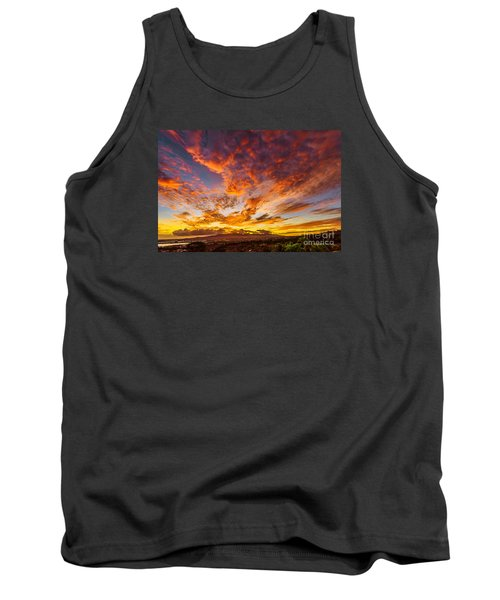 Tank Top featuring the photograph Red Sunset Behind The Waianae Mountain Range by Aloha Art