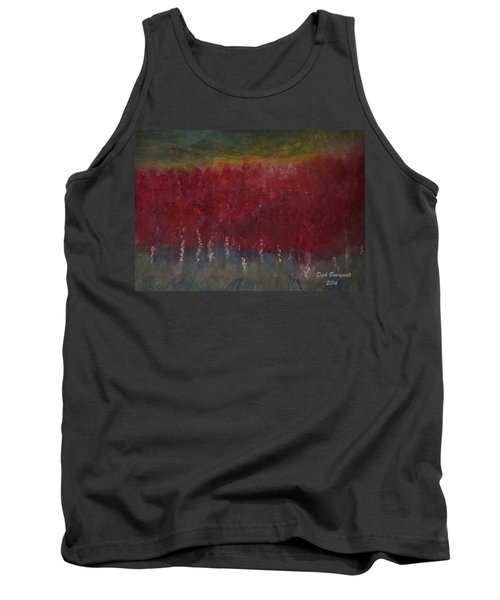 Red Trees Watercolor Tank Top by Dick Bourgault