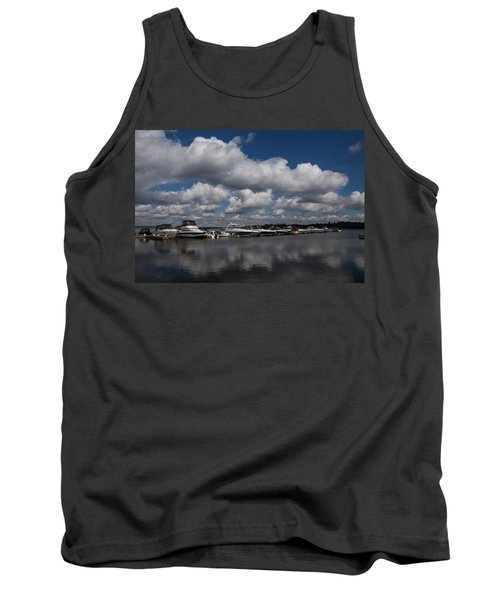 Reflecting On Boats And Clouds - Port Perry Marina Tank Top