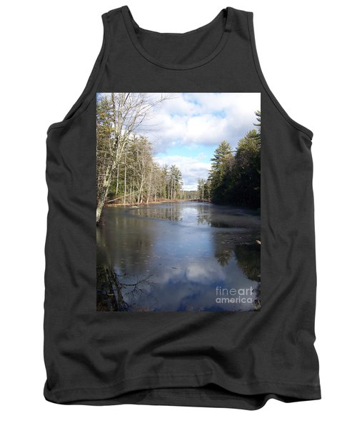 Tank Top featuring the photograph Reflections Caught On Ice At A Pretty Lake In New Hampshire by Eunice Miller