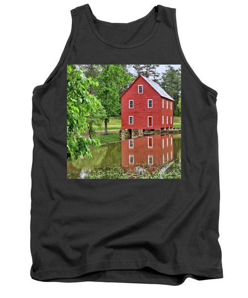 Reflections Of A Retired Grist Mill - Square Tank Top by Gordon Elwell