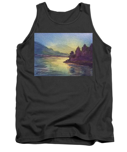 Tank Top featuring the painting Reflections On North South Lake by Ellen Levinson