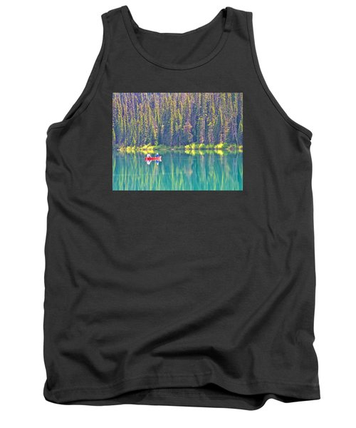 Reflective Fishing On Emerald Lake In Yoho National Park-british Columbia-canada  Tank Top